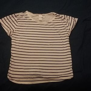 Short sleeve black and white striped tee
